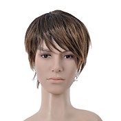 Short Straight Dark Brown with Golden Brown Side Bang Men Hair Wig