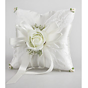 Wedding Ring Pillow In Satin With Delicate Green Flowers