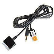 3-en-1 USB 3.5 mm de audio auxiliar / data / cable del cargador para iPod, iPhone y iPad (negro)