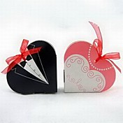 Tuxedo &amp; Gown Heart Shaped Favor Box With Organza Ribbon (Set of 12)