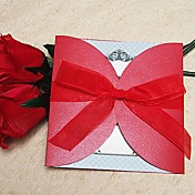 &quot;Burning Love&quot; Red Wedding Invitation With Organza Bow (Set of 60)
