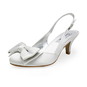 Satin Upper Low Heel Slingbacks With Bowknot Wedding Shoes More Colors Available