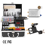 tattoo kit med 2 roterende maskiner lcd strmforsyning og 40 fargeblekk