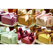 Square Pearl Paper Favor Box With Ribbons (Set of 12)