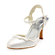 Satin Upper Chunky Heel Sandals With Beading Wedding Shoes More Colors Available