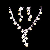 Beautiful White Rhinestone/ Freshwater Pearls And 925 Silver Necklace And Earrings Jewelry Set