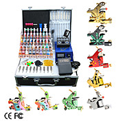 8 Guns Tattoo Kit with LCD Power and 40 Ink + Free Temporary Tattoo 2 Pcs