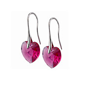 Heart Cut Colored Crystal Earrings On Silver Alloy Hook