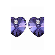 Heart Cut Colored Crystal Earrings With Platinum Plated Back