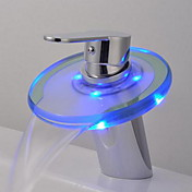 Single Handle Color Changing LED Waterfall Centerset Bathroom Sink Faucet with Glass Spout