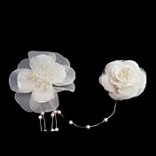 Beautiful Satin/ Imitation Pearl Wedding Bridal Flowers/ Headpiece
