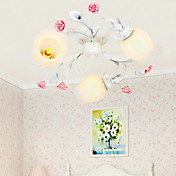 Floral Ceiling Light with 3 Lights in Rose Decorration