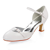PU Leather Upper Mid Heel Closed-toes With Rhinestone Wedding Bridal Shoes