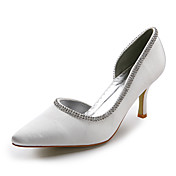Satin Upper Mid Heel Closed-toes With Rhinestone Wedding Bridal Shoes