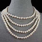 4 Strand 6-7MM Natural Freshwater Pearl Necklace – 16-22 Inch