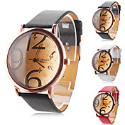 Men's and Women's PU Analog Quartz Wrist Watch with Large Scale (Assorted Colors)
