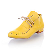 Leatherette Low Heel Lace-up Casual Shoes With Rivets (More Colors)