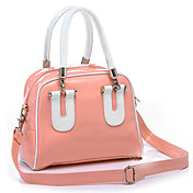 Hot Sale Women's Shiny PU Tote Bag / White Handles