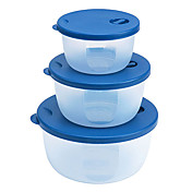 Crisper Bowl Set with Lid (3-Pack, 10x6cm + 13x6cm + 16x8cm)