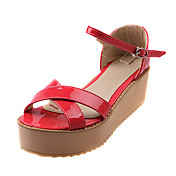 Patent Leather Platform Sandals With Buckle (More Colors)