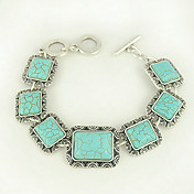 Turquoise And Silver Alloy Rectangular Charm Toggle Bracelet