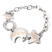 Personalized Star And Waning Moon Bracelet