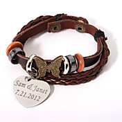 leren armband met gepersonaliseerde hart charme