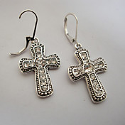Gorgeous Alloy Clear Rhinestone With Cross Shape Hoop Earrings