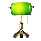 Antique Inspired Table Light with 1 Light in Green Shade