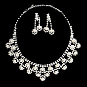 Silver Rhinestone Two Piece Piercing Embedded-Pearl Ladies' Wedding Jewelry Set(45 cm)
