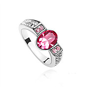 Austria Crystal Ring In Platinum-plated Alloy - Oval (More Colors)