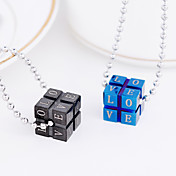 "Stainless Steel ""Love"" Magic Cube Necklace (More Colors)"