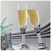 Wedding Toasting Flutes With Black &amp; White Damask Print Stem
