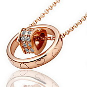 18K Gorgeous Fashion Rhinestone Roll Heart Alloy Necklace (More Colors)