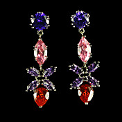 Beautiful Cubic Zirconia Earrings In Flower Drop
