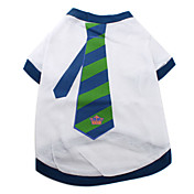 Blue Striped Cotton Shirt Tie for Dogs (XS-M, White)