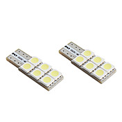 T10 6x5050 SMD White LED Bulb for Car Signal Lights CANBUS (2-Pack, DC 12V)