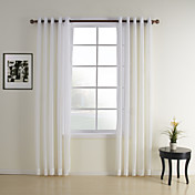 (Two Panels) White Jacquard Contemporary Sheer Curtains