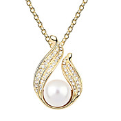 Austrian Crystal With Real Platinum Plated Anti-Allergy Ladies Necklace Pearl Beauty (More Colors)
