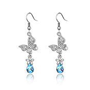 Butterflies Austrian Crystal In Real Platinum Plated Ladies' Earrings (More Colors)
