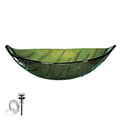 Particular Leaf Tempered Glass Finish Vessel Sink With Pop up and Mounting ring