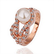 Gorgeous Cubic Zirconia 18K Gold Plate Pearl Knot Fashion Ring