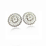 Charming Alloy Crystal/Pearl Round Stud Earrings(More Colors)