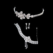 Shinning  Alloy With Rhinestones/Cubic Zirconia Jewelry Set (Necklace/Earrings/Tiara)