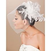 Beautiful Tulle And Feather Bridal Fascinator/Headpiece