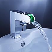 Color Changing LED Waterfall Bathroom Sink Faucet with Pop up Waste - Blade Series