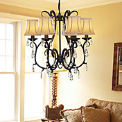 Modern 6 - Light Crystal Chandeliers with Fabric Shades