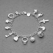 Beautiful Silver Plated 13 Charms Unisex Bracelet
