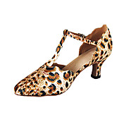 Customized Women's Satin T-Strap Latin / Ballroom Dance Performance Shoes With Animal Print