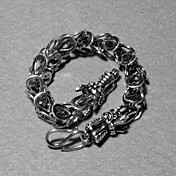 Fashion Silver Plated Cool Double Dragon Head Unisex Bracelet